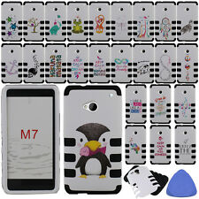 HYBRID Armor Case Cover For HTC One M7 Phone, Music/ Turtle/ Skull/ Anchor +Tool