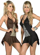 NWT 4038 Black Brown White Clubwear Ultra Mini Dress Top Dance Rave S M L XL