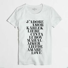 NWT J.Crew Love Tee Collector Graphic Shirt, Sz 2XS, XS, S, M,L, XL,Black/White