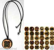 ETHNIC INSPIRED: MENS WOMENS AFRICA ADINKRA SYMBOL WOOD PENDANT CORD NECKLACE