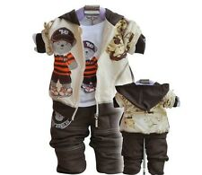 3PC baby outerwear+Long Sleeve T Shirt+long  Pants set suit boys clothing bear