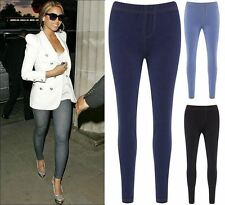 Womens Denim Jeggings Beyonce Bodycon Band Waist Leggings Casual Pants Trousers