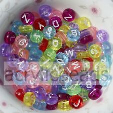 100pcs Clear Multi Colors White Acrylic Round Letter Alphabet Flat Spacer Beads