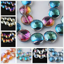 10pcs 14mm Discoid Round Faceted Rondelle Findings Crystal Glass Loose Beads
