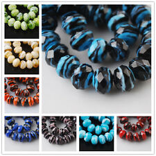 12mm Rondelle Faceted Glass Crystal Stripe Design Lampwork Beads Jewelry Finding