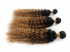 "Factory 6A Grade 3Bundles Ombre Human Hair12""-30"",Curly Wave,1B33#27# 50g/pc HOT"