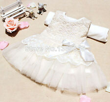 New Baby Girls Toddler Pageant Wedding Formal Lace Floral Party White Pink Dress