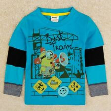 100% cotton kids toddler boys t shirt long tops with cartoon printed Size 2-6Y