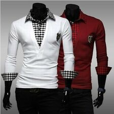 New Fashion Mens Slim Fit Long Sleeve Polo Shirt Splice Casual Top Tee T-Shirt
