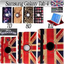 """Rotating 360 Deg Leather Stand Case Cover for Samsung Galaxy Tab 4 7.0"""" 8"""" 10.1"""""""