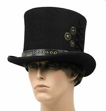 Victorian SteamPUNK Costume Top Hat Dickens Black with Gears