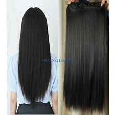 Women Lady Hair Extensions Straight Long Clip In Hairpiece Ponytail Black/Brown