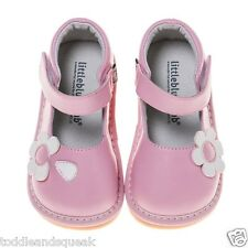 Little Blue Lamb Girls Toddler Pink + White Flower Leather Lined Squeaky Shoes