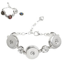 Wholesale Lots Snap Button Bracelet Round White Rhinestone Silver Tone 16.5cm