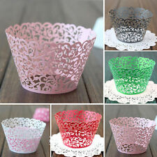 12PCS Wedding Birthday Baby Shower Filigree Vine Cupcake Wrappers Wraps Cases