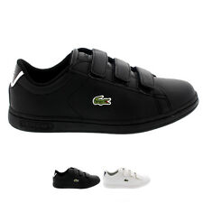 Unisex Kids Lacoste Carnaby Velcro Leather Low School Sport Trainers All Sizes