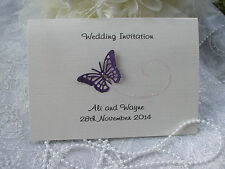 50 x PERSONALISED FOLDED A6 BUTTERFLY WEDDING/EVENING INVITATIONS