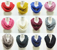 Women Winter Warm Infinity 2 Circle Cable Knit Cowl Neck Long Scarf Shawl