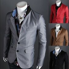 Luxury Mens Slim Fit Two Button Stylish Business Casual Blazer Jacket Suit Coat