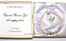 Personalised Bridesmaid / Flower Girl Wedding Gift - Bracelet