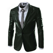 New Fashion Mens Slim Fit PU Leather Casual One Button Suit Coat Jacket Blazers