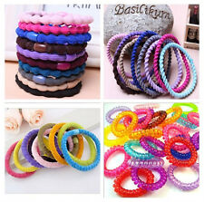 10X Random Color Girls Fabric Hair Band Telephone Wire Elastic Plastic Hair Rope