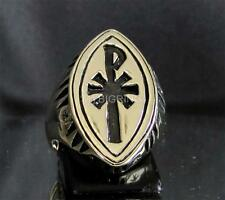 MARQUISE SHAPED BRONZE CHRISTIAN MONOGRAM POPE RING CHI RHO X P ANY SIZE