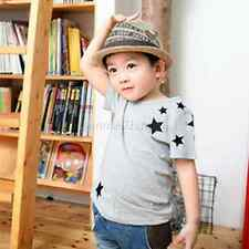 Kids Boy Child Short Sleeve T-shirt Version Star Pattern Cotton Blouse Tops 2-7Y