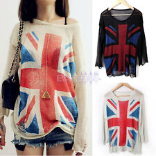 Fashion Ladies Disdressed UK Flag Jack union tumper Pullover knitted Sweater