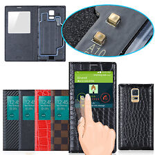 Luxury S-View Window PU Leather Flip Smart Case Cover for Samsung Galaxy S5 G900