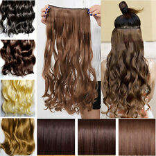 US Post Long Clip In Hair Extensions 3/4 Full Head Weft Straight Wavy Colors hst