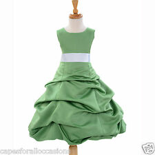 CLOVER GREEN TODDLER BIRTHDAY KDS WEDDING FLOWER GIRL DRESS 2 4 6 8 10 12 14 16