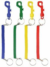 1, 6 & 12 RETRACTABLE SPIRAL STRETCHY KEYRING KEY CHAIN RING PARTY BAG FILLER