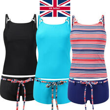 Ladies Scuba Tankini Vest Shorts Set Black Navy Red Stripe 10 12 14 16 18 20
