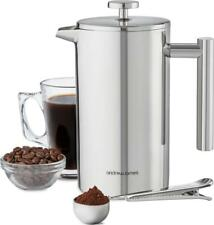 Andrew James Stainless Steel Double Wall Cafetiere Filter Coffee Maker Plunger
