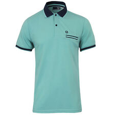 New Men's Sergio Tacchini Polo T-Shirt Jersey Top - Blue - Retro Vintage Fashion
