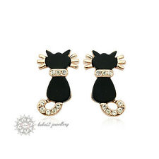 18K Rose Gold Plated Crystal/Black Cat/Animal Stud Earring/RGE312