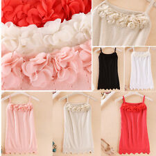 Women's Sexy Flower Tank Top Sexy Cami Sleeveless Casual Cotton T-Shirt Blouse