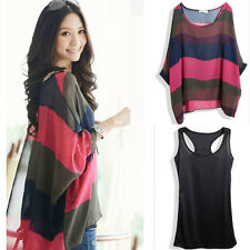 Women's Casual Loose Batwing Long Sleeve T-shirt Stripe Tops Blouses w Tank Vest