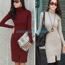 Fall/Winter Lady Slim High Collar Turtleneck Long Sleeve Bodycon Party Dress