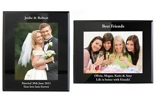 Personalised Engraved Black Glass 5x7 Photo Frame - Portrait or Landscape