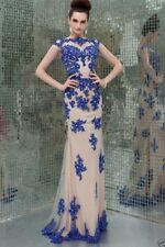 New Blue Lace Applique Long Pageant Ball Bridal Party Gown Evening Prom Dress