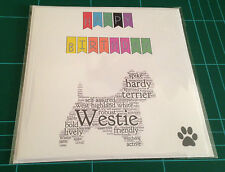Dog breed hand made birthday card Labrador Scottie Westie Border Wheaten Fox 5x5