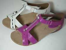 Women Clarks Raffi Magic Pink Or White Leather T-Bar Casual Sandals