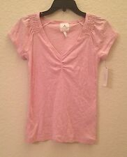 NEW Alfani Women's Short Sleeve V-Neck Pajama Sleep Top 213834 Candy Pink Small