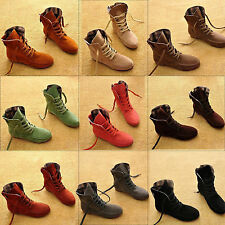Womens Ankle Boots Battle Lace Up Flat Suede Vintage Shoes Size 8/9/10/11 Punk