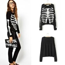 HOT Womens Fashion Long Sleeve Ghost Skeleton Knit Slim Sweater B5811