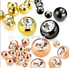 5pcs 16g, 14g Titanium IP Steel Threaded Replacement Gem Balls Body Jewelry Part