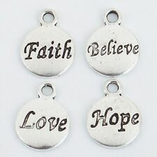 50Pcs New Retro Silver Hope/Faith/Love/Believe Pendant Charm as Jewelry Making
