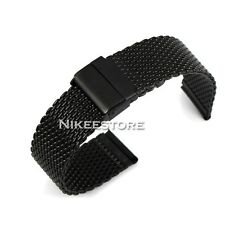 18 20 22 24 mm Black Stainless Steel Bracelet Strap Watch Mesh Replacement Band